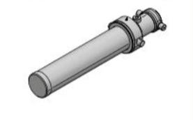 3 traps enkelwerkende telescoopcilinder, Ø95-129mm, slag 3840mm, 200 bar zonder bevestiging