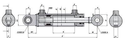 Dubbelwerkende cilinder 60x30x550 met gelenkogen