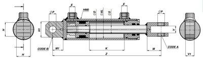 Dubbelwerkende cilinder 60x35x550 met gaffel bevestiging