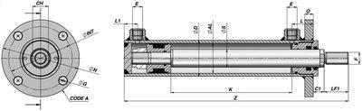 Dubbelwerkende cilinder 60x35x500mm met bevestigingsflens