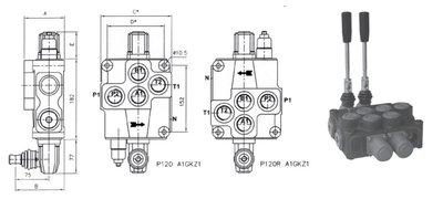 1P120 1 sectie stuurventiel 120 L/min handbediend 1