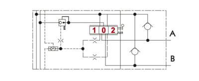 Proportioneel 4/3 stuursectie met gedempte drukcompensatie incl. nazuigventiel/shock valve kleppen