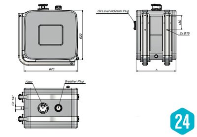 Hydrauliektank 120 liter met zijmontage en intern filter