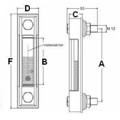 Peilglas zonder thermometer - aansluiting M10 lengte 76 mm