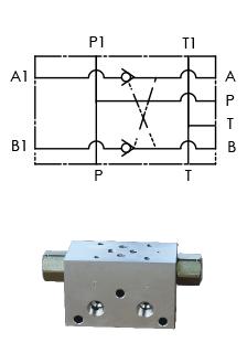 A05 tussenblok voor powerpack NG6 ventiel met gestuurde terugslagklep