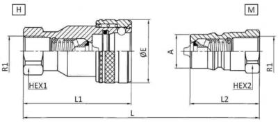 ISO-B snelkoppeling 1/2