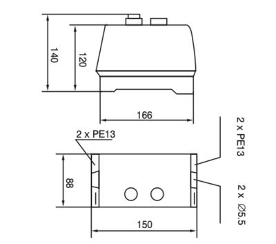 Motor start relais 400V inclusief kast en motorbeveiliging 12A