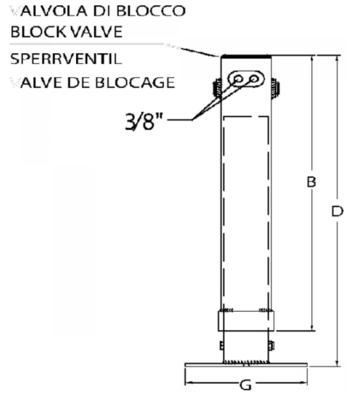Hydraulische steunpoot 1950kg - 400mm slag