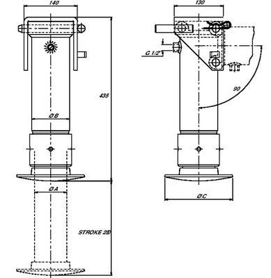 Set steunpoot cilinder cpl. 85-250 met handpomp 5,7 ton (25cc)
