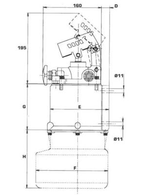 Set steunpoot cilinder cpl. 65-250 met handpomp 3,3 ton