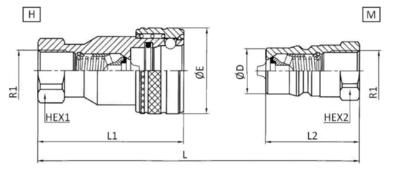 RVS ISO-A snelkoppeling 1/4