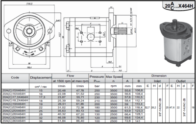 36 cc heftruckpomp links met 10T spline as