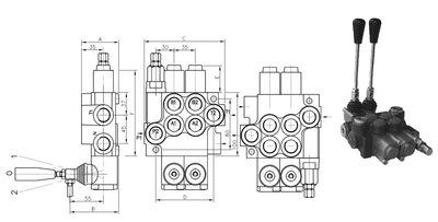 6P40 6 sectie stuurventiel 40 L/min handbediend