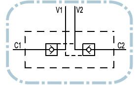 Dubbele hydraulische gestuurde terugslagklep VBPDE 1/4