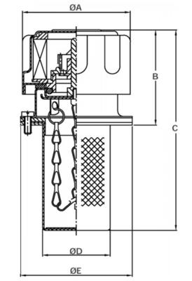 Tankvuldop 10µm, 50 mm, met lasflens