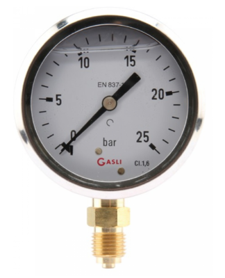Manometer aansluiting onder 63mm rvs gevuld met glycerine 0-6 bar
