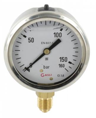 Manometer aansluiting onder 63mm rvs gevuld met glycerine 0-160 bar