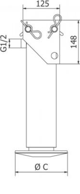 Steunpoot cilinder cpl. 85-250