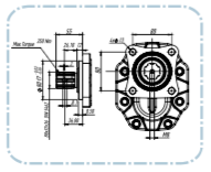 PTO Tandwielpomp links met stalen pomphuis groep 40 ISO serie pomp 151cc