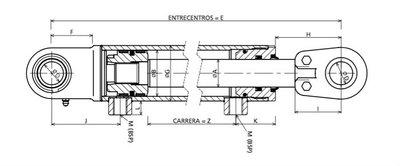 Hydrauliekcilinder 40x25x300 dubbelwerkend met gelenkogen