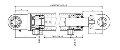 Hydrauliekcilinder 50x30x100 dubbelwerkend met gelenkogen