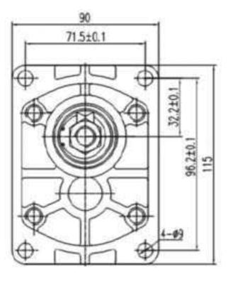 Hydrauliek tandwielpomp 4cc groep 2 conische as 1:8