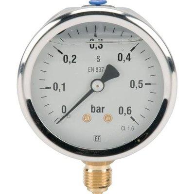 Manometer aansluiting onder 63mm rvs gevuld met glycerine 0-0,6 bar