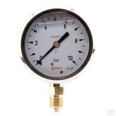 Manometer aansluiting onder 63mm rvs gevuld met glycerine 0-10 bar