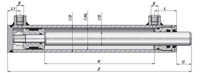 Dubbelwerkende cilinder 60x35x800 zonder bevestiging