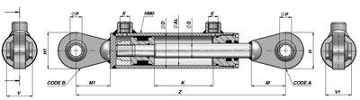 Dubbelwerkende cilinder 90x50x300mm met kogelgewricht