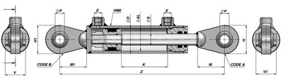Dubbelwerkende cilinder 50x25x1000mm met kogelgewricht