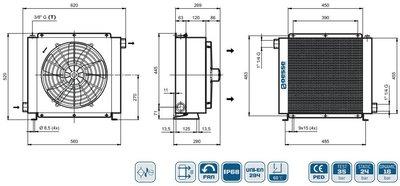 Oesse hydrauliek oliekoeler 18 kW 12V, 1 1/4 BSP