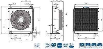 Oesse hydrauliek oliekoeler 27 kW 400V, 1 1/4
