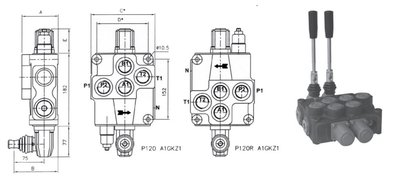 2P120 2 sectie stuurventiel 120 L/min handbediend