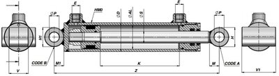 Dubbelwerkende cilinder 80x40x1000 met brede bevestiging