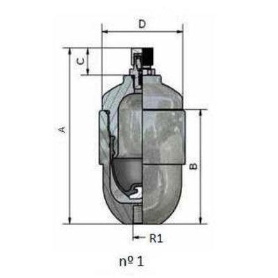 Balgaccumulator 12L M18x1,5 aansluiting 1,3l