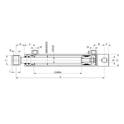 Dubbelwerkende cilinder 80x40x400 met bevestiging (kloofmachine cilinder)