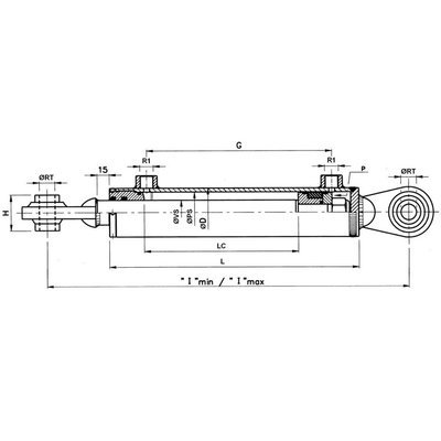 Hydraulische topstang 65x35x280 (25,4 mm Økogel)