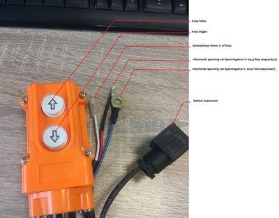 Knoppenkast voor enkelwerkende powerpack 24V 2 knoppen