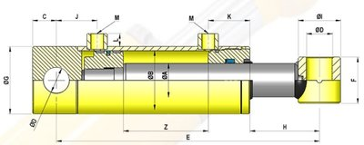 Dubbelwerkende cilinder 32x20x800 met bevestiging