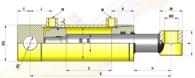 Dubbelwerkende cilinder 70x40x1500 met bevestiging