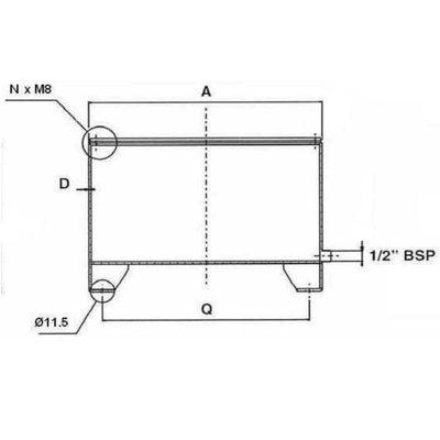 Stalen hydrauliektank CF met deksel 14 liter