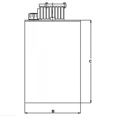 Stalen hydrauliektank KVT met zuigaansluiting en retourfilter 50 liter