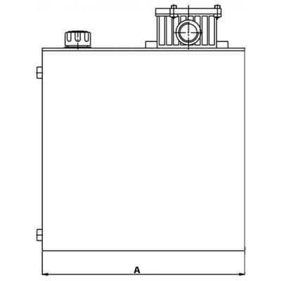 Stalen hydrauliektank KVT met zuigaansluiting en retourfilter 30 liter