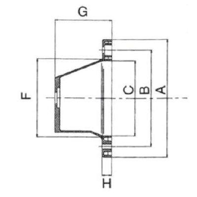Lantaarnstuk Groep 2, Flens 250 mm