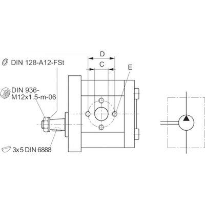 5,5 cc Bosch Rexroth tandwielpomp links met 1:8 conische as