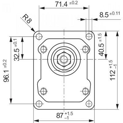 25 cc Bosch Rexroth tandwielpomp links met 1:8 conische as