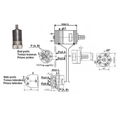MM8 8cc hydraulische motor 16 mm as, zijaansluiting