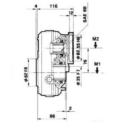 Vertragingskast 1:3 voor OMR, MHR en OMP hydromotoren, 10 kW