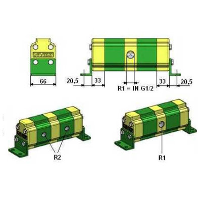 Verdeelmotor, 2 voudig, 1-6 l/min